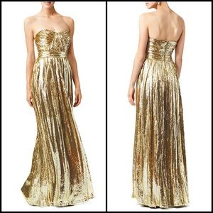 Badgley Mischka Collection Gold Sequin Ball Gown